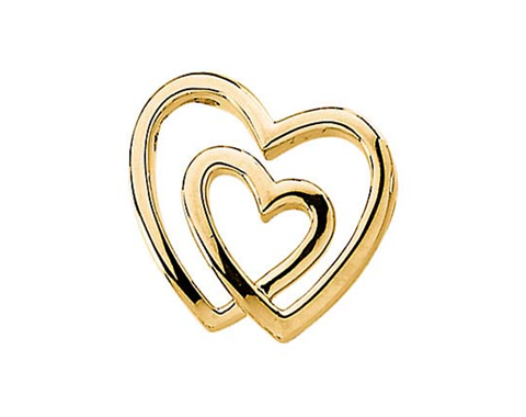 14k Yellow Gold Polished Double Heart Pendant